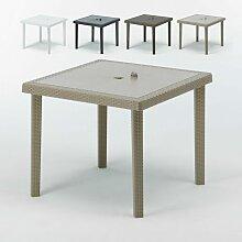 Table bar café Poly rotin 90x90 BOHÊME | Beige -