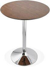 Table-bar ronde avec piétement métal chromé -