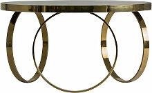 Table basse art déco métal doré et plateau