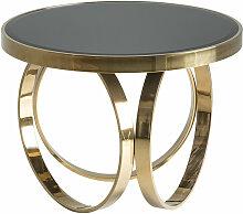 Table basse art déco miroir noir et pieds métal