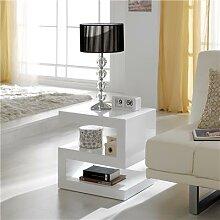 Table basse blanc laqué design ABIGAIL
