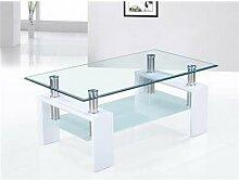 Table basse blanc laqué et plateaux verre design