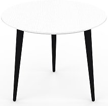 Table basse - Blanc, ronde, design scandinave,