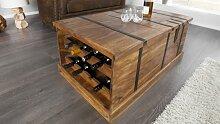 Table basse bois coffre de rangement bouteille -