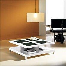 Table basse carrée blanc brillant avec 2 plateaux