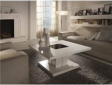 Table basse carrée blanc laqué design DOMI