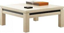 Table basse carrée chêne blanchi décor verre
