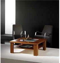 Table basse carrée couleur teck 2 plateaux