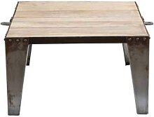 Table basse carrée en manguier massif et acier