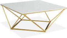 Table basse carrée marbre blanc & métal doré -