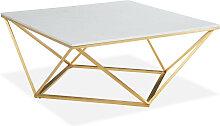 Table basse carrée marbre blanc & métal doré