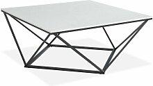 Table basse carrée marbre blanc & métal noir -