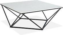 Table basse carrée marbre blanc & métal noir