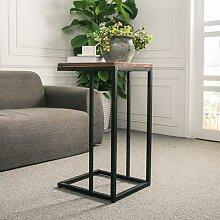 Table basse carrée rétro, cadre en fer, dessus