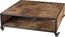Table basse carrée roulettes 1 étagère bois