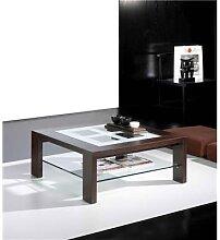 Table basse carrée wengé avec 2 plateaux en