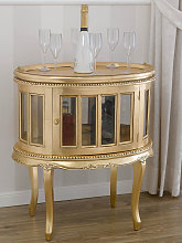 Table basse Coloniale ovale vitrine bar casier