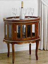 Table basse Coloniale ovale vitrine bar casier