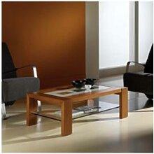 Table basse couleur teck avec 2 plateaux en verre