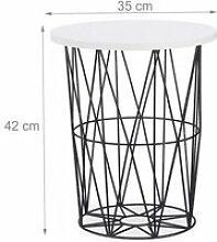 Table basse d'appoint ronde panier en métal