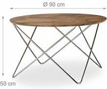 Table basse d'appoint ronde pieds croisés