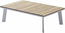 Table basse de jardin en aluminium blanc et bois
