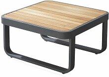 Table basse de jardin en aluminium et plateau bois