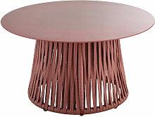 Table basse de jardin ronde en verre trempé et