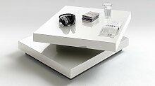 Table basse design blanche carrée doubles