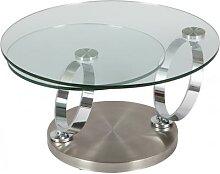 Table basse design ronde en verre trempé socle
