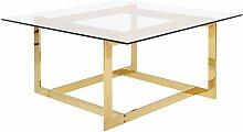 Table basse dorée en verre CRYSTAL