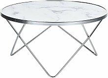 Table basse effet marbre blanc et argenté