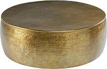 Table basse en aluminium martelé doré  Paloma