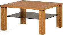 Table basse en chêne, double plateau en verre,
