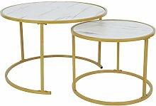 Table Basse en Lot de 2 Table d'appoint Ronde