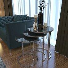 TABLE basse en métal argenté miroir HAUSEV