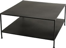 Table basse industriel carrée pieds métal noir
