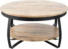 Table basse industrielle ronde bois et métal deux