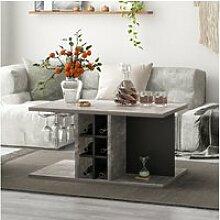 Table basse multifonctionne avec étagère à vin