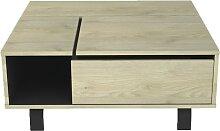 Table basse plateau relevable et coffre intérieur