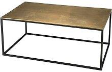 Table basse rectangulaire aluminium doré pieds
