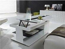 Table basse relevable blanc laqué design MANUELLA