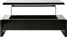 Table basse relevable design noire avec rangement