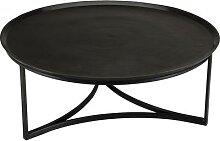 Table basse ronde aluminium noir pieds métal –