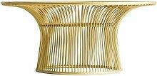 Table basse ronde art déco métal doré et