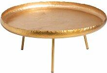 Table basse ronde art déco métal doré