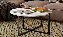 Table basse ronde avec marbre blanc - Rondo
