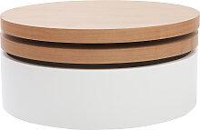Table basse ronde avec plateaux pivotants et