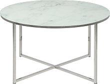 Table basse ronde effet marbre blanc et pieds en