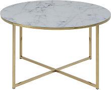 Table basse ronde effet marbre et pieds métal D80